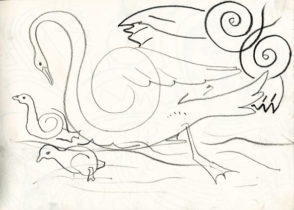 Swan, cygnets and owl