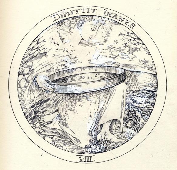 Rosicrucean emblem 8 by janeadamsart:  Angel sieves wheat from chaff