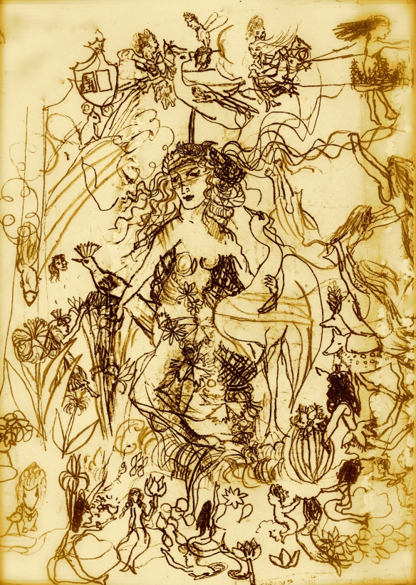 Goddess with swan - A childhood drawing, circa 1956 - probably copied from Leonardo