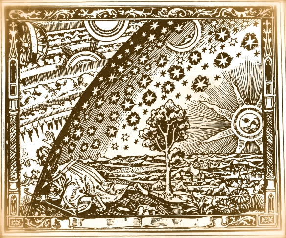 Second birth - breaking through the caul of life into the Laws of Creation: an old Kabbalist engraving