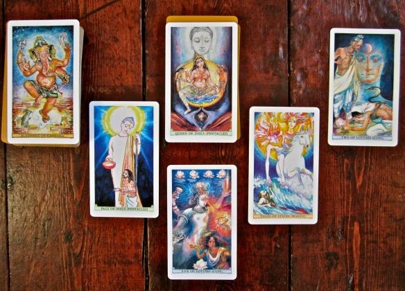 A Sacred India Tarot reading - from left to right, past, present moment (with its unfolding quality) and future.