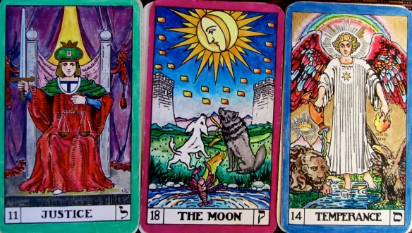 Justice past. Moon present. Temperance future.  BOTA Tarot Keys