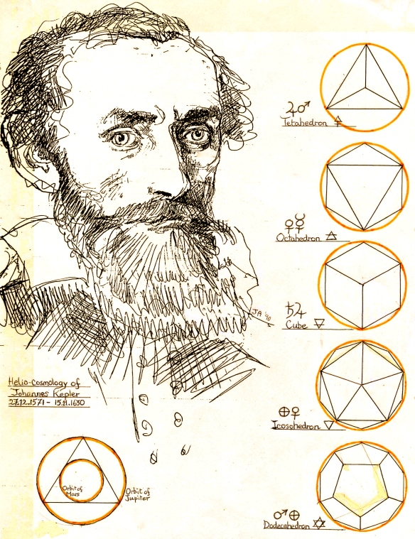 Johannes Kepler with planet platonic intervals - 1992