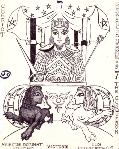 Tarot key 7 - The Chariot, showing sigils & insignia.  Enclosure:  stepping down the voltage of the Magician