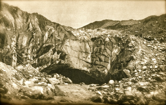 Old photo of Gaumakh the Cow's mouth - infant Ganges river emerges from Gangotri glacier ice