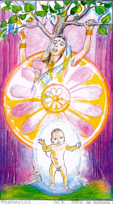 Sacred India Tarot, birth of Buddha - copyright Yogi Impressions books, 2011