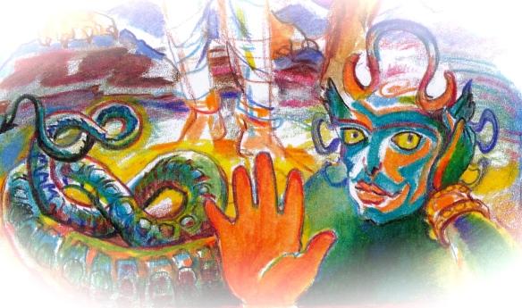 Sacred India Tarot Durga detail - Rahu asura