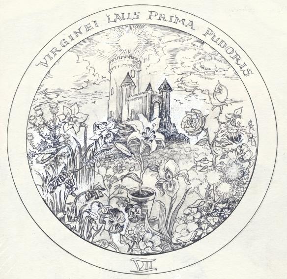 Rosicrucean emblem 7:  a lily in a pot, in a field