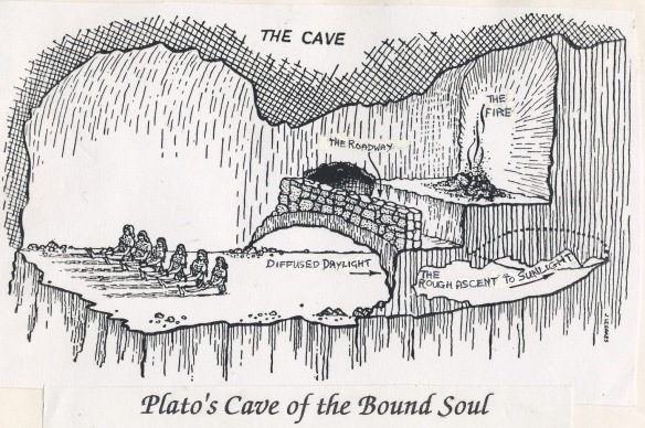 A diagram of Plato's cave.  Where we habitually live, we watch the shadows on the wall cast by the fire behind us.  Where the Light comes and finds us, is a little passage leading to the Day.  As an old prehistoric cave painter, I relate viscerally to this image!