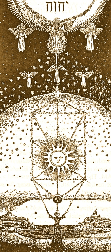 "Work of a Kabbalist - by Halevi. ""This wall hanging shows the Kabbalist below on earth, with the mineral, vegetable and animal kingdoms, and the works of man. Above is the moon, sun and solar system/Tree of Life within the dome of the stars.  Over this hovers the Angelic world with Great Michael presiding... beyond this are the Archangels with Metatron the transfigured Enoch at the juncture point between the World of the Spirit and the Divine Realm represented by the Holy Name YHVH."