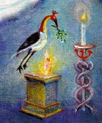 Altar, bird, torch - detail
