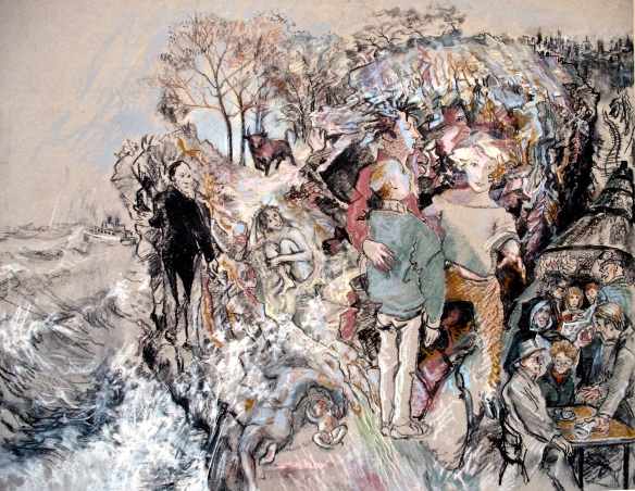 The second in a series of paintings (1986) where the trail opened inward, rather than upon outward portraits of life.  In the centre are pilgrim and cloven footed gate keeper.  To the right is a train with all my current acquaintances and friends as passengers.  On the rocky cliff is a mythic Greek bull, myself naked, and a mother trying to protect her baby from the sea.  The man creeping along the cliff is a conductor.  The ship out to sea is the vessel.  It was a mixture of dream images in the pot.