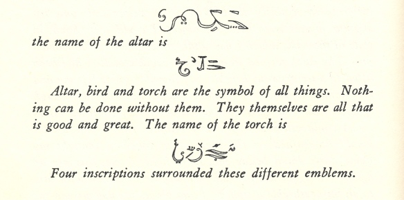 altar bird torch inscription