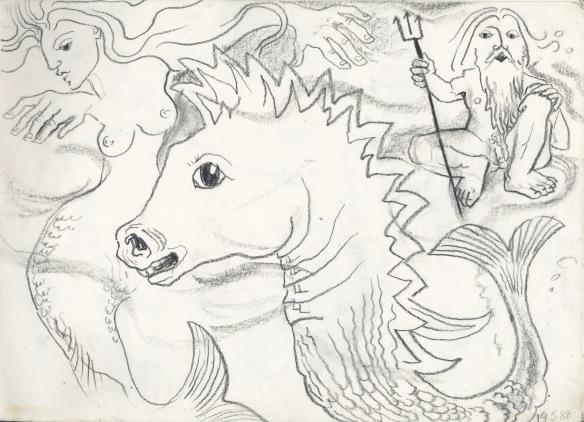 Melusina, sea horse and Poseidon 1988