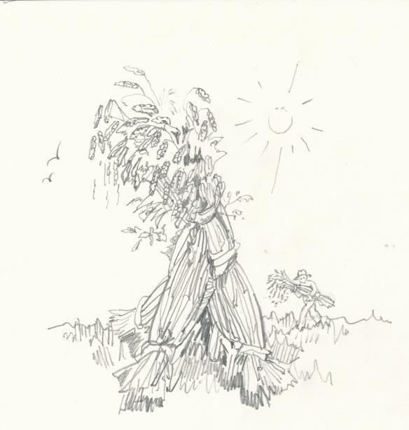 Letter GIMEL - wheatsheaf with man