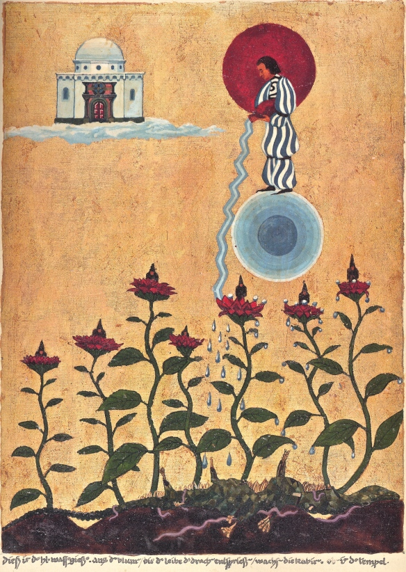 "Painting by Jung, 4 January 1920 - Watering Hades.  Inscription reads: ""This the holy caster of water.  The Cabiri grow out of the flowers which spring from the body of the dragon.  Above is the temple."""