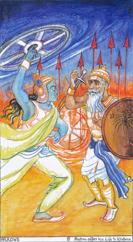Sacred India Tarot 8 of Arrows - Bheeshma surrenders to Krishna