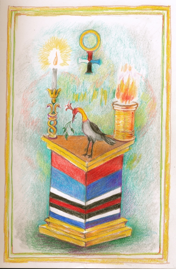 Trinosofia altar, bird, torch 2
