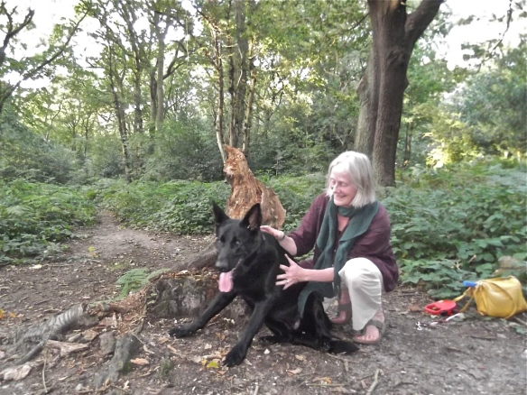 With Maya, a friend's dog whom I loved and have had to say goodbye to - how I cried! - and am starting to recover. This and the other photos of Mask and Mantree were taken by an artist, Tony Wigg in the woods, for a spontaneous 'happening' - I stepped into the mask and veil.