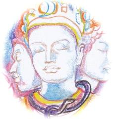 Sacred India Tarot Siva ace of Lotuses, detail